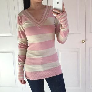 Poof - Pink and Cream Striped Sweater For Juniors